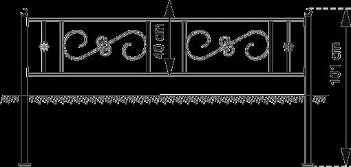 Ограда с элементами ковки №1 мусульманская, металлическая с порошковой краской. Окрашивание на заводе Альтера. Altera Prof