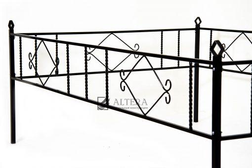 ограда на кладбище Ромб Н30, металлическая с порошковой краской. Окрашивание на заводе Альтера. Altera Prof